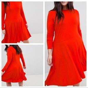 NWT ASOS Orange Asymmetrical Skater Dress